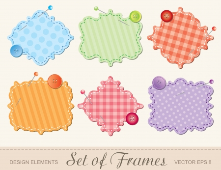 set van textiel frames, scrapbook design elementen Vector Illustratie
