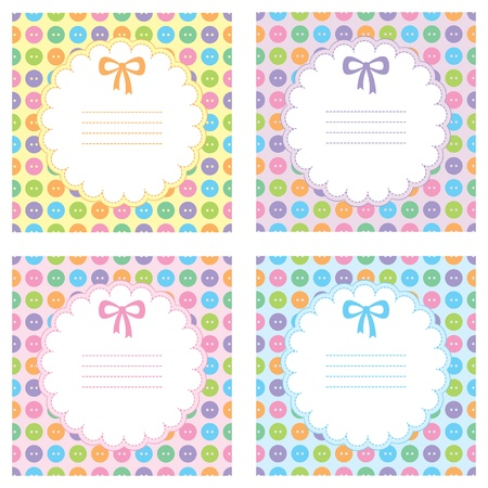 set of baby frames with sewing buttons Vector