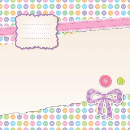 scrapbook set with frame, ribbon and buttons Vector