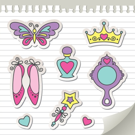 set of princess stickers, elements for kid design Vector
