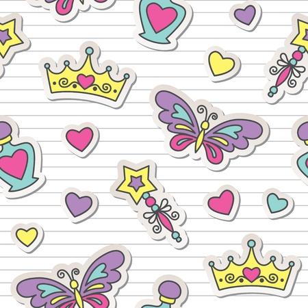 princesa: princesa perfecta patrón con pegatinas lindo, chico de fondo Vectores