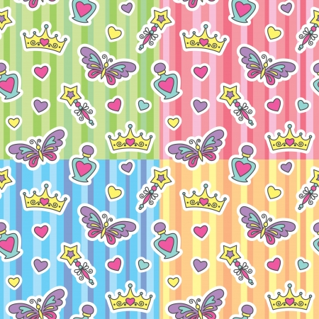 set of princess seamless patterns with cartoon elements Vector