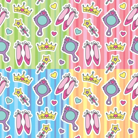set of princess seamless patterns with cartoon elements Stock Vector - 13826185