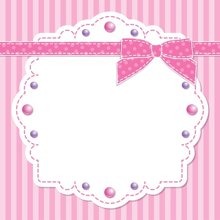 pink frame with bow and beads on striped background Vector