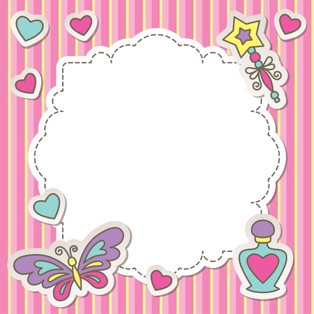 pink frame with cartoon butterfly, perfume bottle and wand