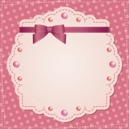 pink satin: vintage frame with bow and beads