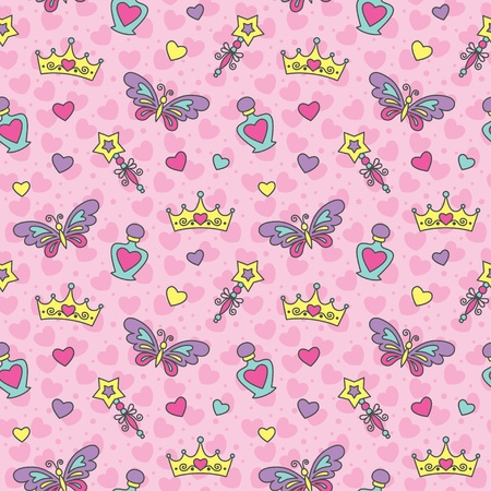 princess seamless pattern with cartoon wands, crowns, perfume bottles and butterflies Stock Vector - 13834263