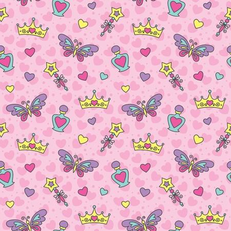 princess seamless pattern with cartoon wands, crowns, perfume bottles and butterflies Vector