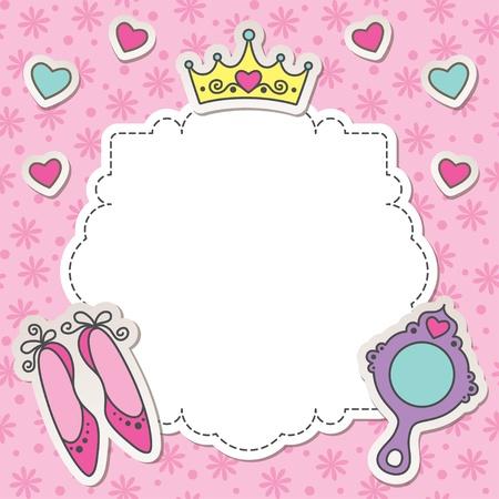 princesa: marco de la princesa de dibujos animados con los zapatos, un espejo y la corona