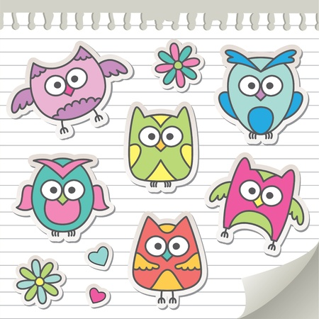 set of cartoon owls on paper page Vector