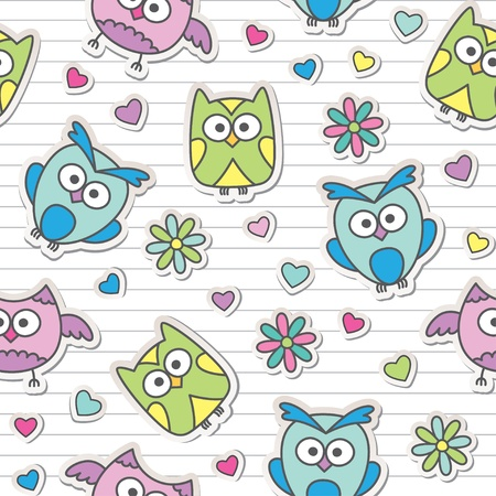 seamless pattern with cute cartoon owls and flowers