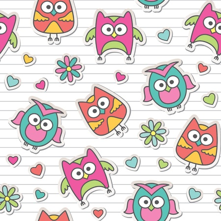 seamless pattern with cute cartoon owls and flowers Stock Vector - 13962724