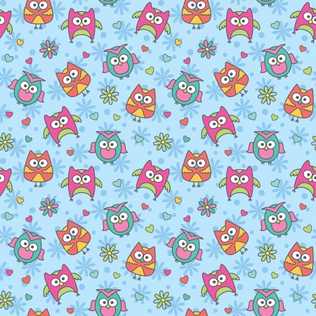 seamless pattern of cartoon owls and flowers Vector