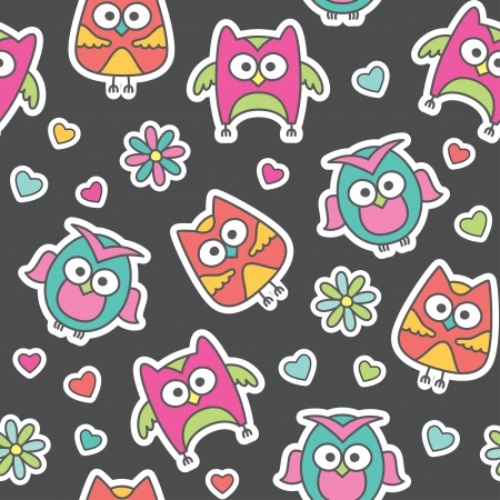 seamless pattern of cartoon owls and flowers Stock Vector - 13962722