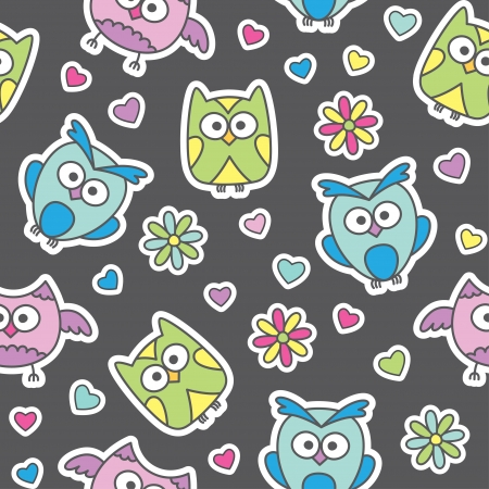 seamless pattern of cartoon owls and flowers Stock Vector - 13962723