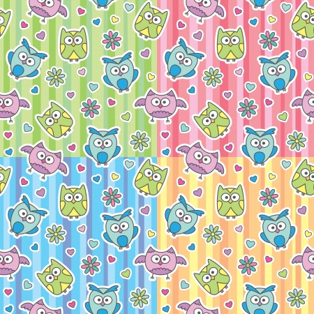 seamless patterns of cartoon owls and flowers Vector