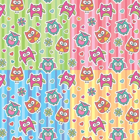seamless patterns of cartoon owls and flowers Stock Vector - 13962727