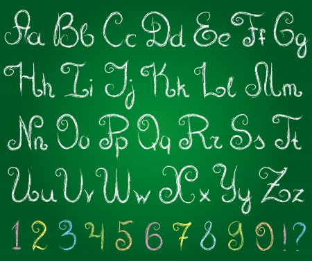 wright: hand drawn alphabet on a green chalkboard Illustration