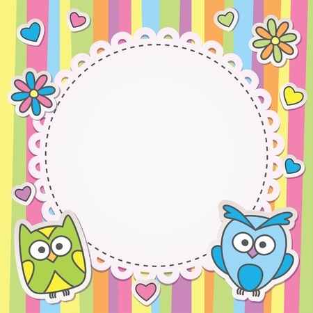 cute frame with cartoon owls on striped background Vector