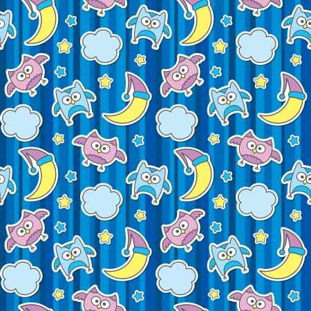 seamless pattern with cartoon owls in night sky Vector