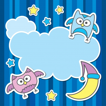 card with cartoon owls, clouds, stars and moon Vector