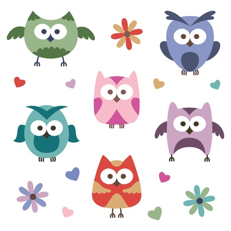 set of cartoon owls on white background Vector
