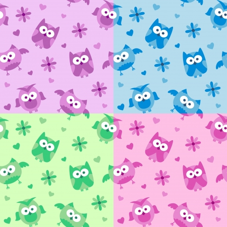 set of seamless patterns with cartoon owls Vector