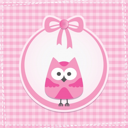 baby stickers: baby frame with owl, vector eps 10