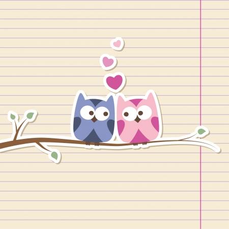 lovely girl: dos lechuzas en el amor, ilustraci�n rom�ntica sencilla