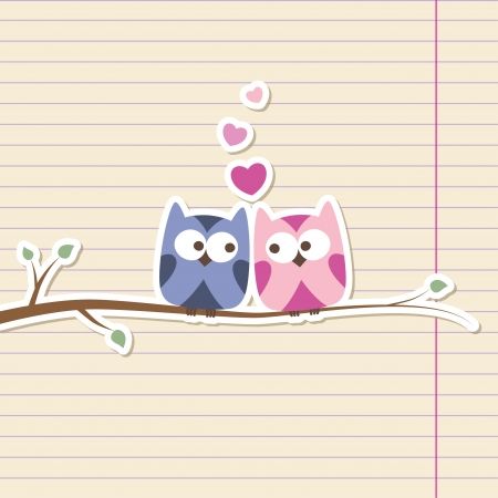 wedding card design: two owls in love, simple romantic illustration