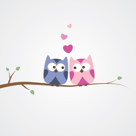 two owls in love, simple romantic illustration