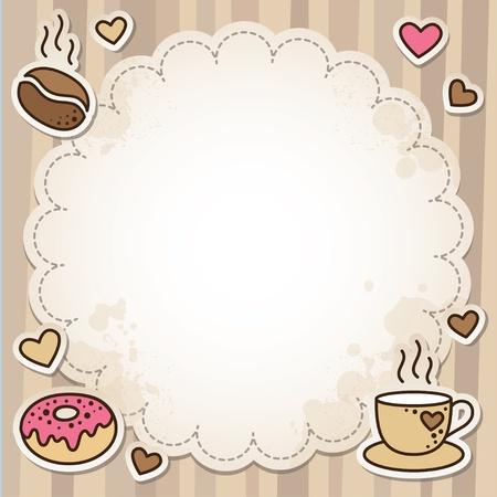beignet: cadre vintage avec des grains de caf�, tasse et un beigne