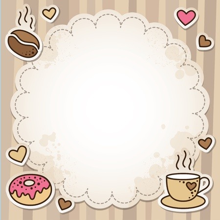 coffee time: vintage frame with coffee beans, cup and donut
