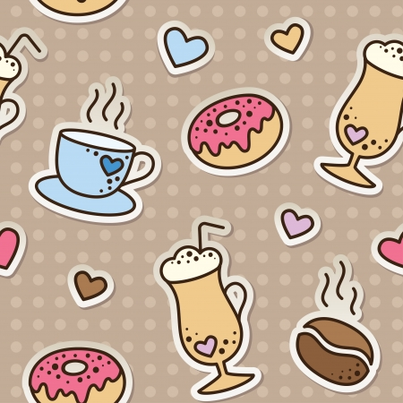 scrap paper: seamless pattern with coffee beans, cups and donuts