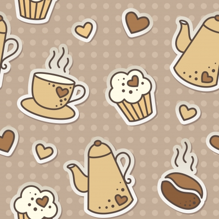 seamless pattern with coffee beans, cups, cupcakes and kettles Vector