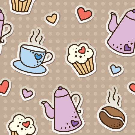 scrapbooking elements: seamless pattern with coffee beans, cups, cupcakes and kettles