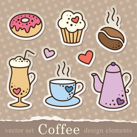 set of coffee stickers, vintage elements for scrapbook design Vector