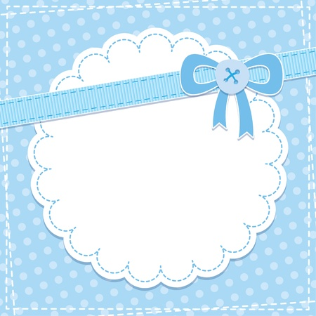 babies and children: baby frame with blue bow and button Illustration