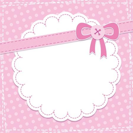 lazo rosa: beb� marco con lazo rosa y el bot�n Vectores
