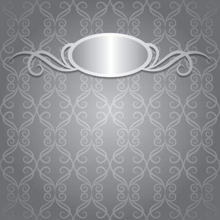 gray vintage background with silver frame, vector  Vector
