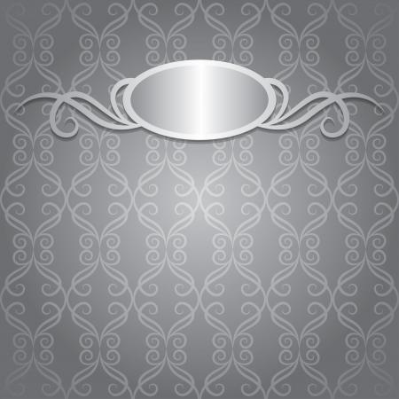 silver frame: gray vintage background with silver frame, vector  Illustration