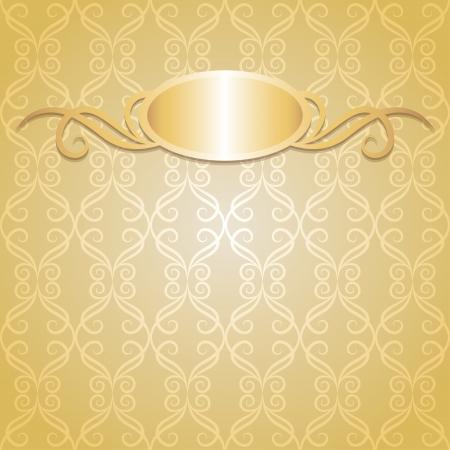 beige vintage background with gold frame, vector