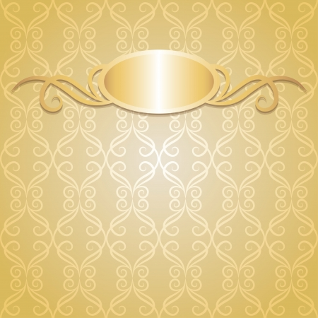 beige vintage background with gold frame, vector Vector