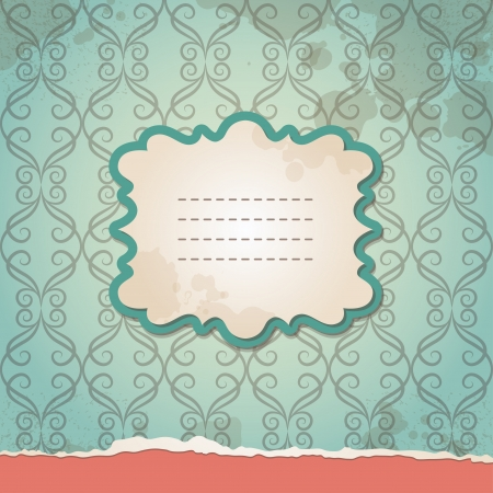 green vintage background with old wallpapers and frame Vector