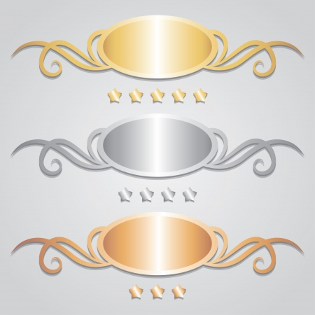 bronze: metal frames and stars on gray background Illustration