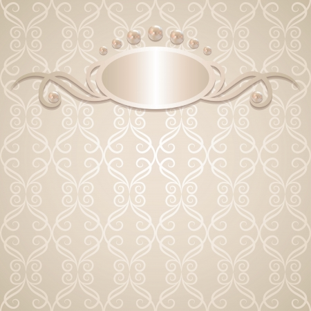 vintage wedding background with pearls, vector illustration