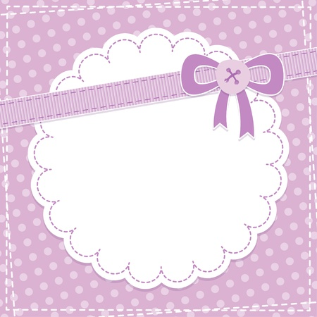baby frame with violet bow and button Vector