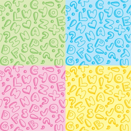 baby hand: hand drawn seamless patterns with funny alphabet Illustration