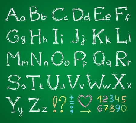 hand drawn alphabet on a green chalkboard  イラスト・ベクター素材