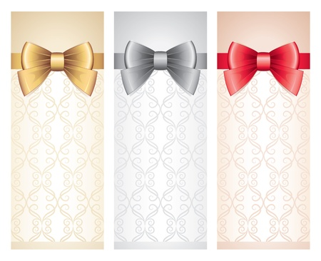 set of vertical gift cards with glossy bows Vector
